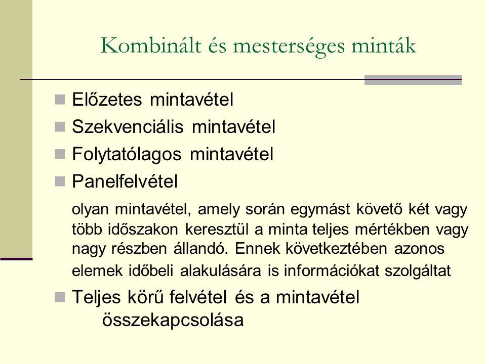 Előzetes mintavétel Szekvenciális mintavétel Folytatólagos mintavétel Panelfelvétel olyan mintavétel, amely során egymást követő két vagy több időszak