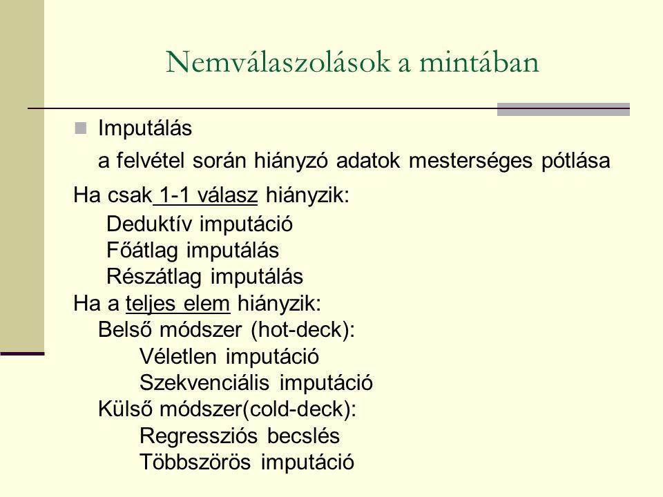 Imputálás a felvétel során hiányzó adatok mesterséges pótlása Ha csak 1-1 válasz hiányzik: Deduktív imputáció Főátlag imputálás Részátlag imputálás Ha