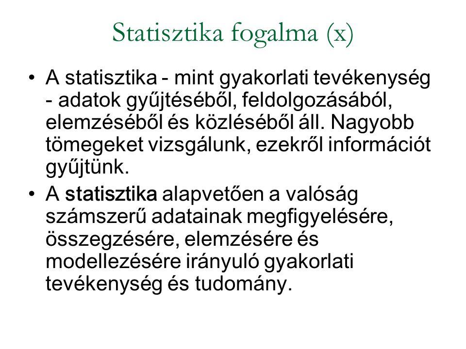 Statisztika fogalma (x) A statisztika - mint gyakorlati tevékenység - adatok gyűjtéséből, feldolgozásából, elemzéséből és közléséből áll. Nagyobb töme