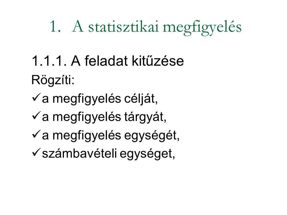 1.A statisztikai megfigyelés 1.1.1. A feladat kitűzése Rögzíti: a megfigyelés célját, a megfigyelés tárgyát, a megfigyelés egységét, számbavételi egys