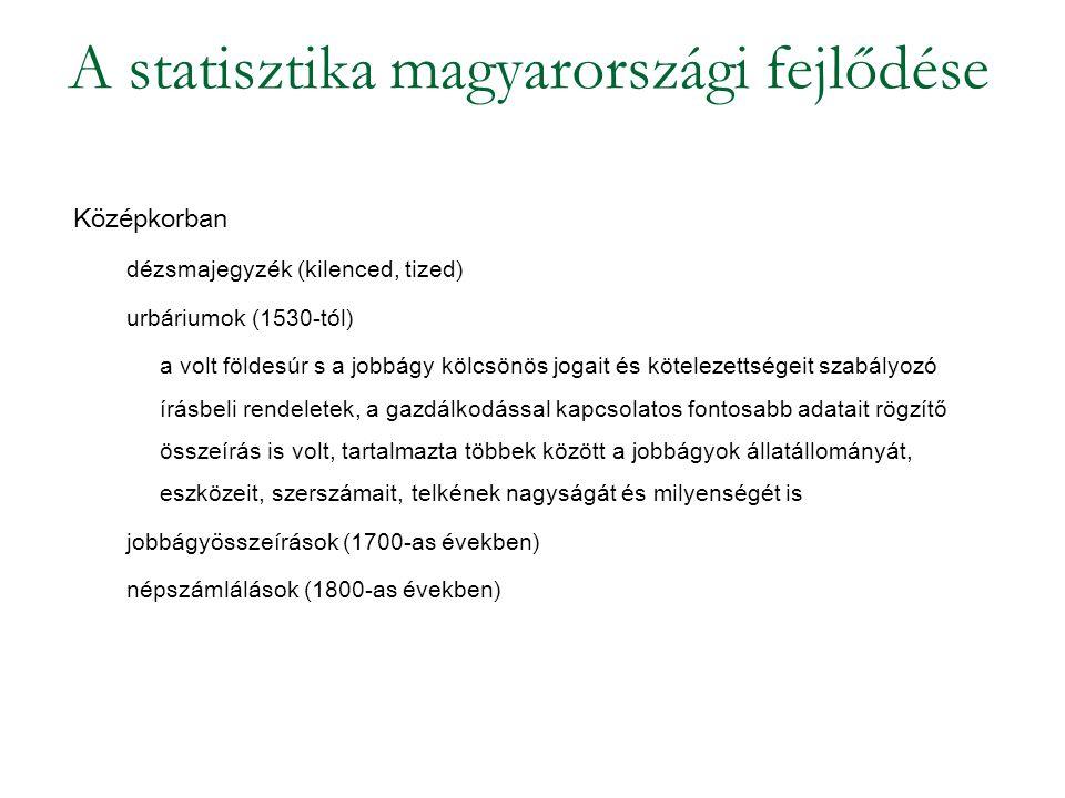 A statisztika magyarországi fejlődése Középkorban dézsmajegyzék (kilenced, tized) urbáriumok (1530-tól) a volt földesúr s a jobbágy kölcsönös jogait é