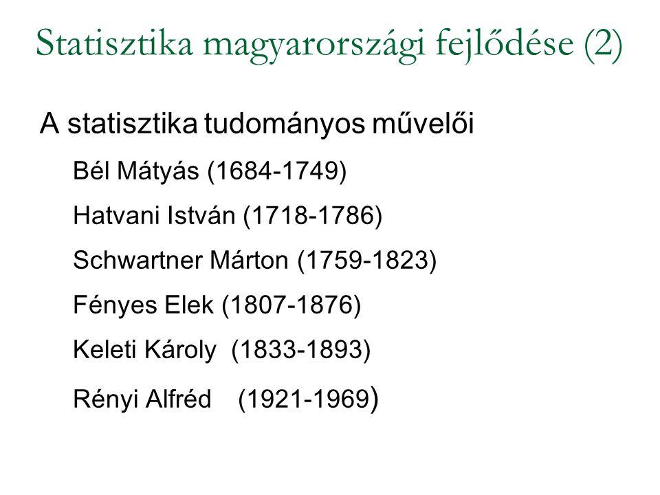 A statisztika tudományos művelői Bél Mátyás (1684-1749) Hatvani István (1718-1786) Schwartner Márton (1759-1823) Fényes Elek (1807-1876) Keleti Károly