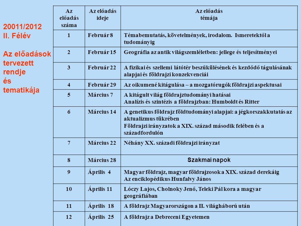 20011/2012 II. Félév Az előadások tervezett rendje és tematikája Az előadás száma Az előadás ideje Az előadás témája 1Február 8Témabemutatás, követelm