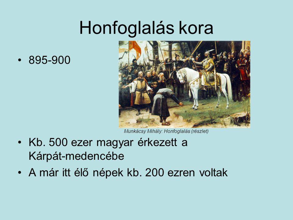 Honfoglalás kora 895-900 Kb. 500 ezer magyar érkezett a Kárpát-medencébe A már itt élő népek kb. 200 ezren voltak Munkácsy Mihály: Honfoglalás (részle