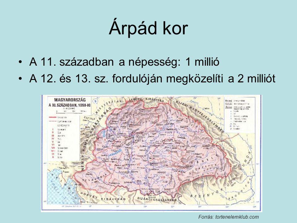 Árpád kor A 11. században a népesség: 1 millió A 12. és 13. sz. fordulóján megközelíti a 2 milliót Forrás: tortenelemklub.com