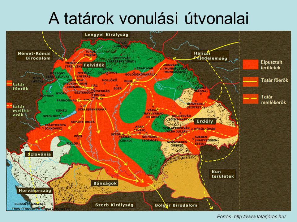 A tatárok vonulási útvonalai Forrás: http://www.tatárjárás.hu/