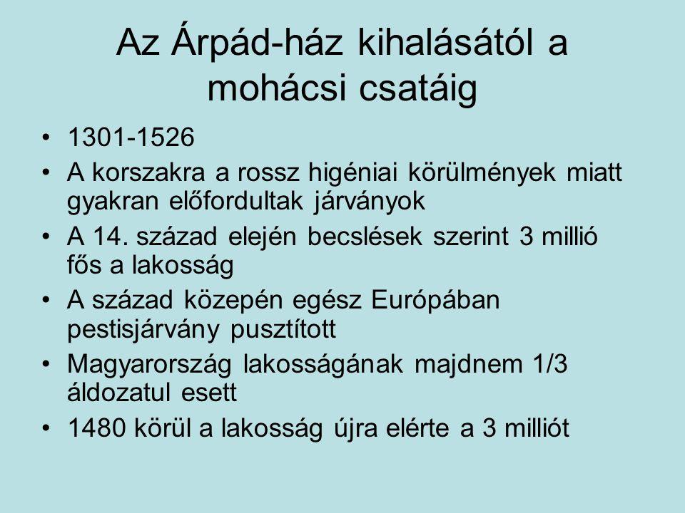 Az Árpád-ház kihalásától a mohácsi csatáig 1301-1526 A korszakra a rossz higéniai körülmények miatt gyakran előfordultak járványok A 14. század elején