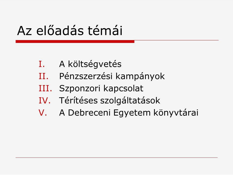 Az előadás témái I.A költségvetés II.Pénzszerzési kampányok III.Szponzori kapcsolat IV.Térítéses szolgáltatások V.A Debreceni Egyetem könyvtárai