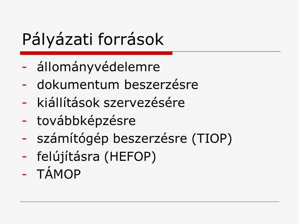 Pályázati források -állományvédelemre -dokumentum beszerzésre -kiállítások szervezésére -továbbképzésre -számítógép beszerzésre (TIOP) -felújításra (HEFOP) -TÁMOP