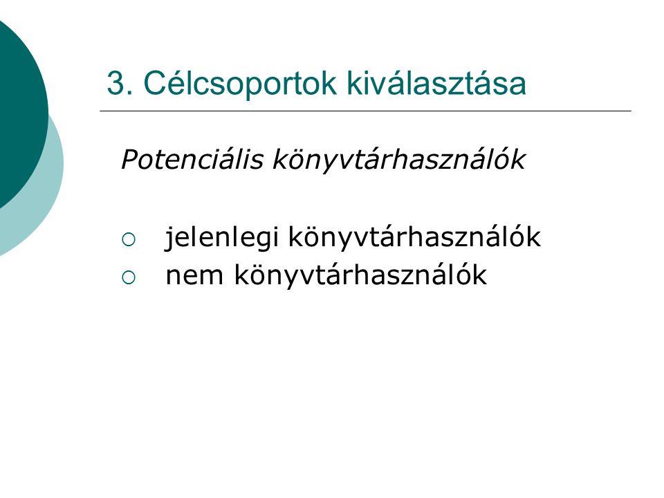 3. Célcsoportok kiválasztása Potenciális könyvtárhasználók  jelenlegi könyvtárhasználók  nem könyvtárhasználók