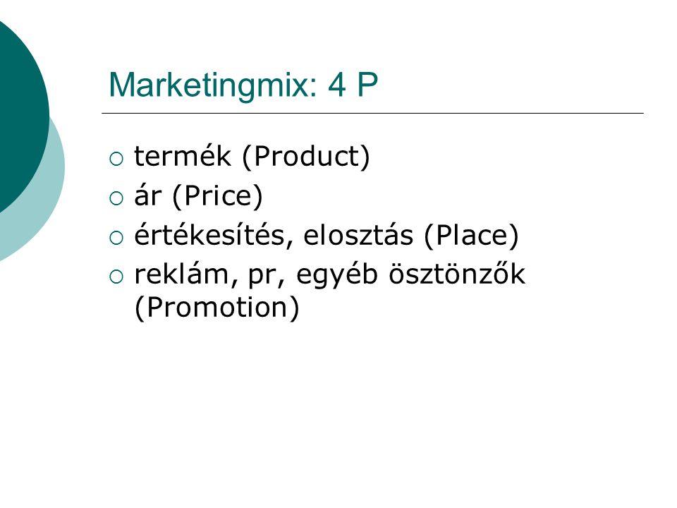 Marketingmix: 4 P  termék (Product)  ár (Price)  értékesítés, elosztás (Place)  reklám, pr, egyéb ösztönzők (Promotion)