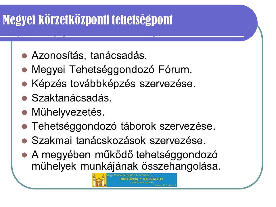 Megyei körzetközponti tehetségpont /Megyei Pedagógiai Szakmai és Szakszolgálati Intézetek/ Azonosítás, tanácsadás.
