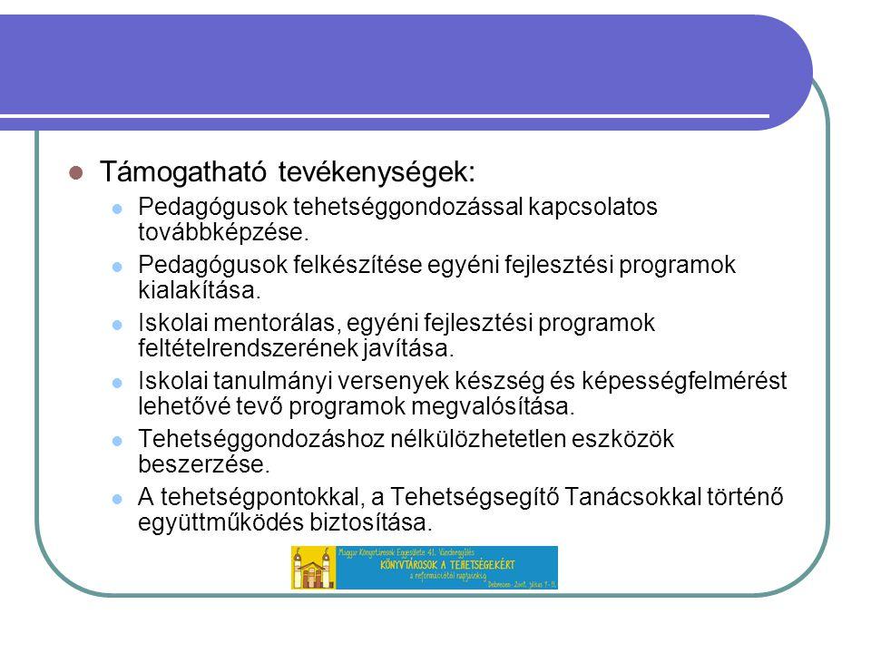 Támogatható tevékenységek: Pedagógusok tehetséggondozással kapcsolatos továbbképzése.