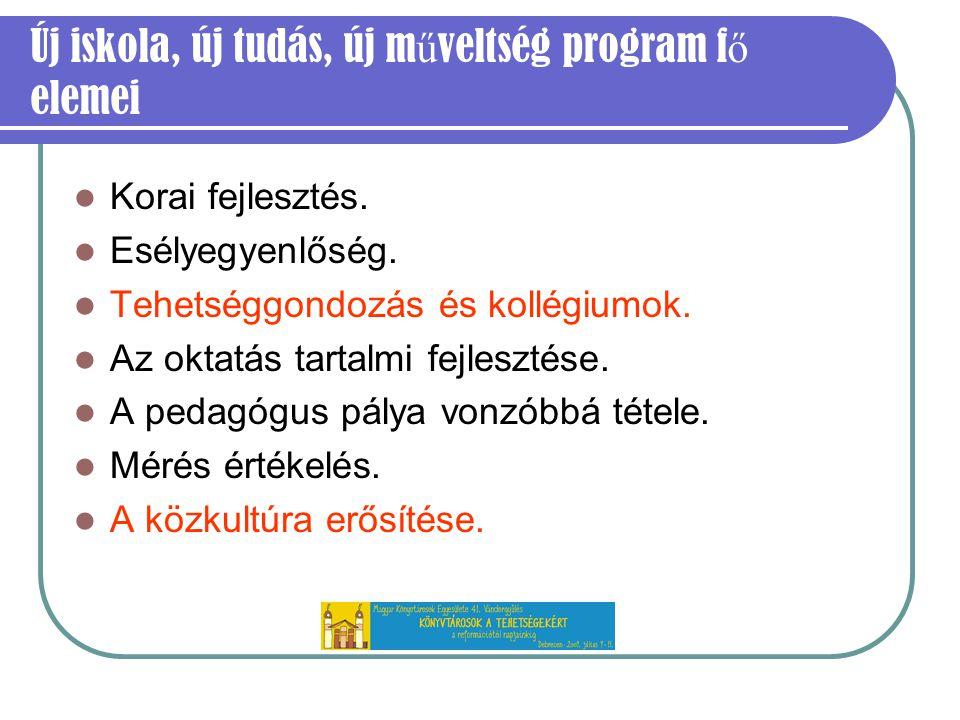 Új iskola, új tudás, új m ű veltség program f ő elemei Korai fejlesztés.