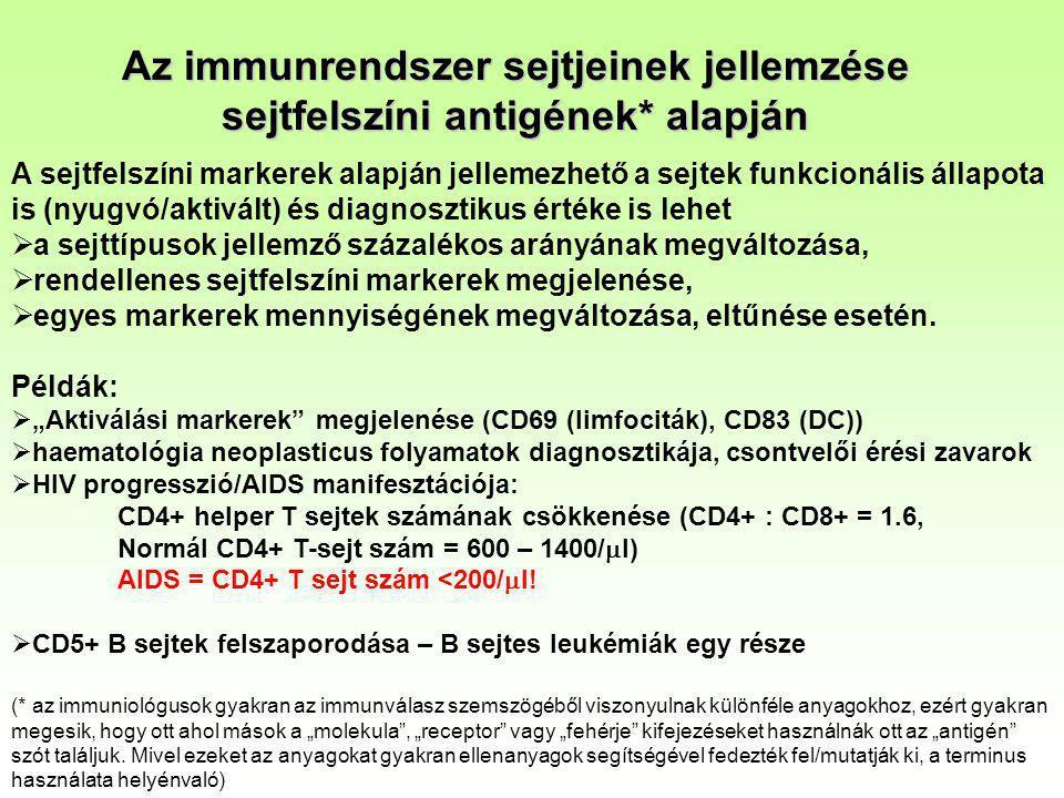 Az immunrendszer sejtjeinek jellemzése sejtfelszíni antigének* alapján A sejtfelszíni markerek alapján jellemezhető a sejtek funkcionális állapota is