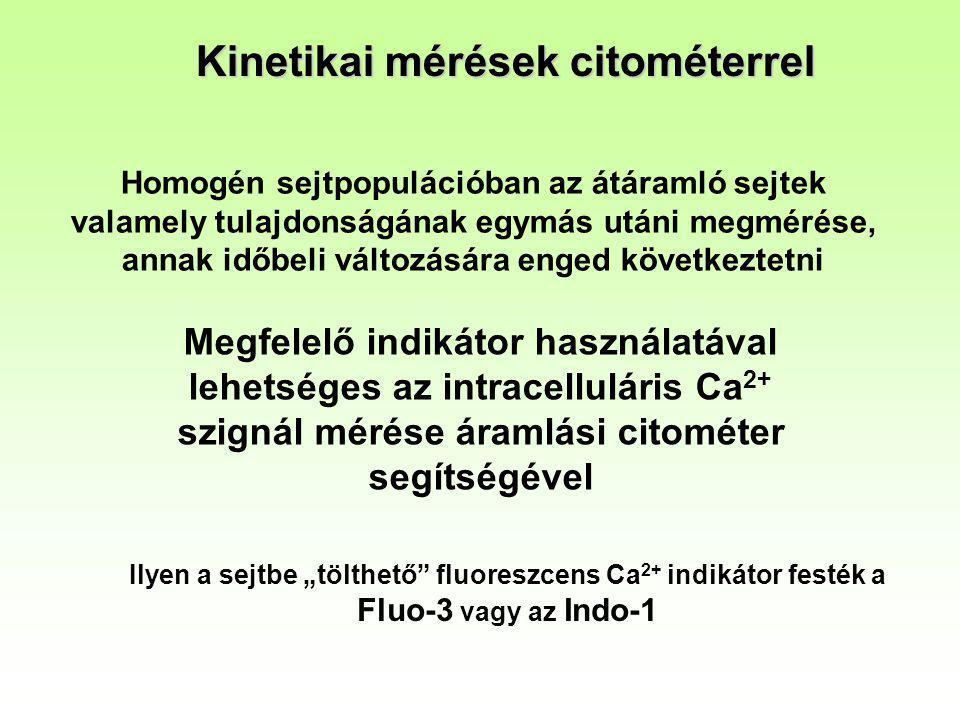 Kinetikai mérések citométerrel Homogén sejtpopulációban az átáramló sejtek valamely tulajdonságának egymás utáni megmérése, annak időbeli változására