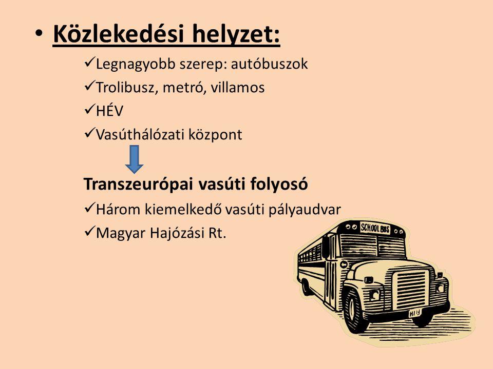 Közlekedési helyzet: Legnagyobb szerep: autóbuszok Trolibusz, metró, villamos HÉV Vasúthálózati központ Transzeurópai vasúti folyosó Három kiemelkedő