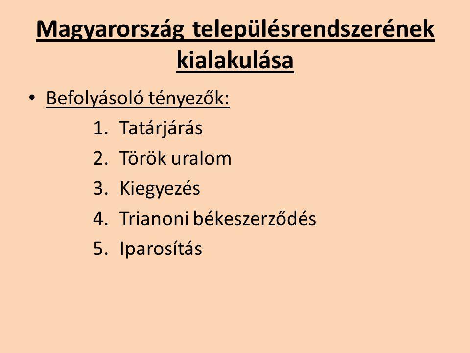 Magyarország településrendszerének kialakulása Befolyásoló tényezők: 1.Tatárjárás 2.Török uralom 3.Kiegyezés 4.Trianoni békeszerződés 5.Iparosítás