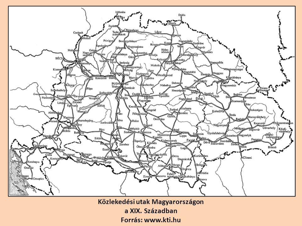 Közlekedési utak Magyarországon a XIX. Században Forrás: www.kti.hu