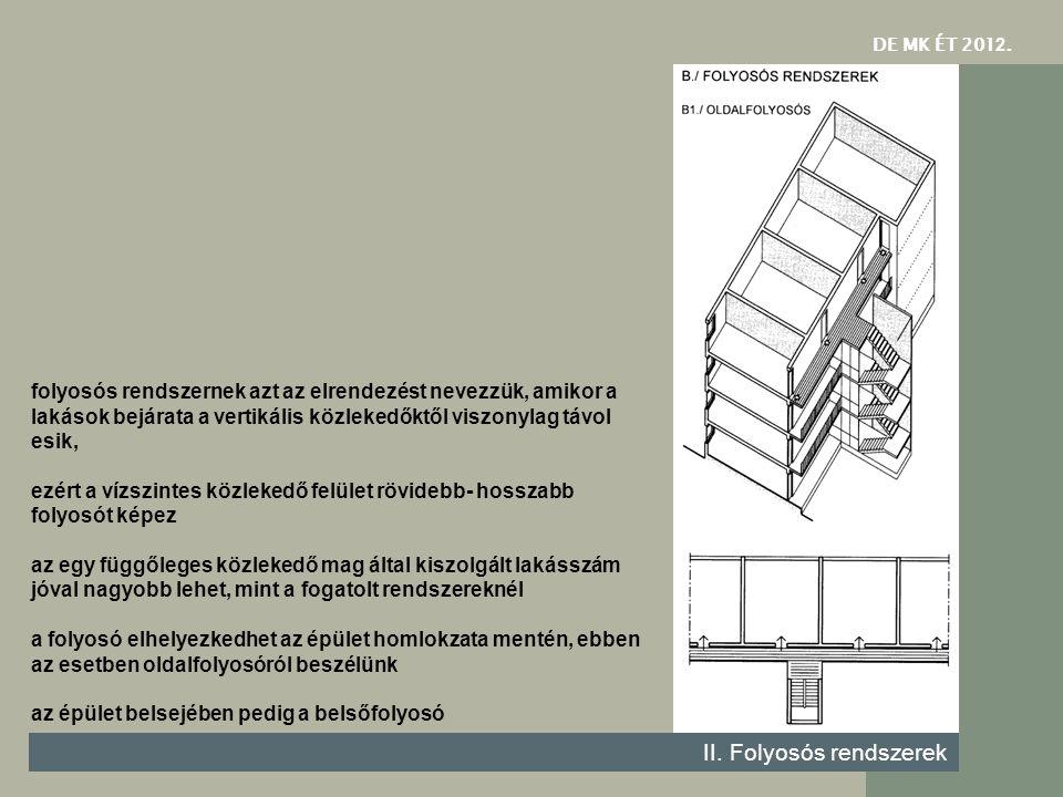 DE MK ÉT 201 2. II. Folyosós rendszerek folyosós rendszernek azt az elrendezést nevezzük, amikor a lakások bejárata a vertikális közlekedőktől viszony