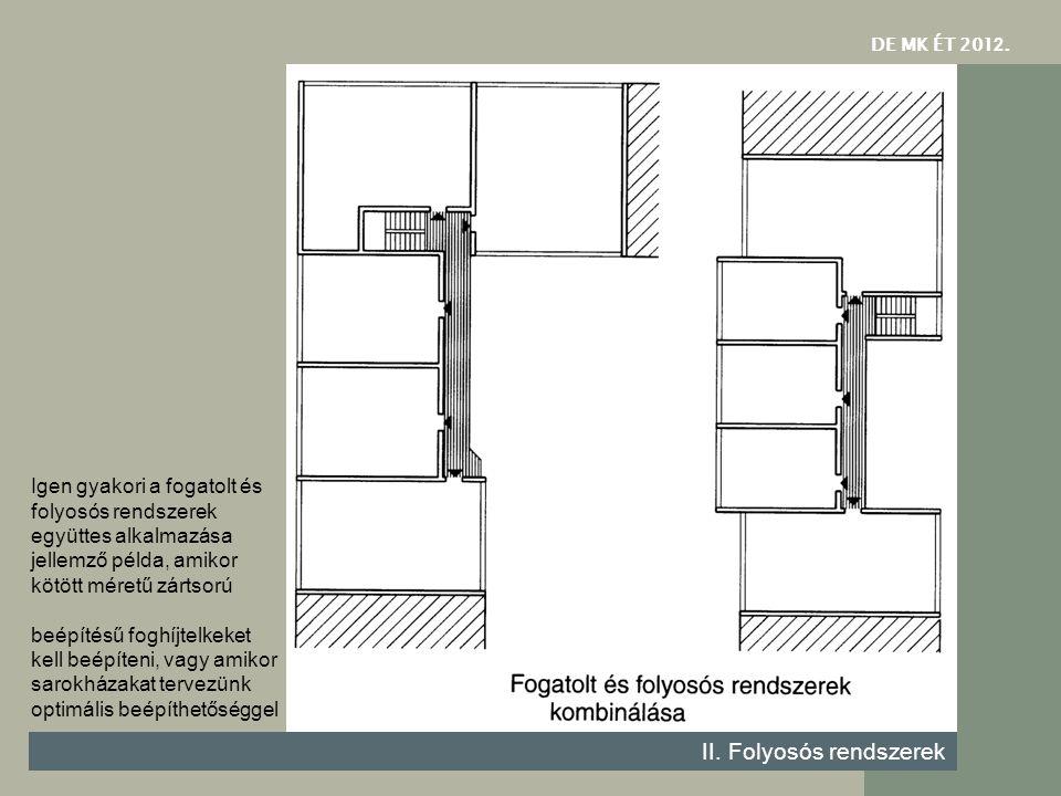 DE MK ÉT 201 2. II. Folyosós rendszerek Igen gyakori a fogatolt és folyosós rendszerek együttes alkalmazása jellemző példa, amikor kötött méretű zárts