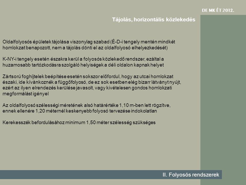 DE MK ÉT 201 2. II. Folyosós rendszerek Tájolás, horizontális közlekedés Oldalfolyosós épületek tájolása viszonylag szabad (É-D-i tengely mentén mindk