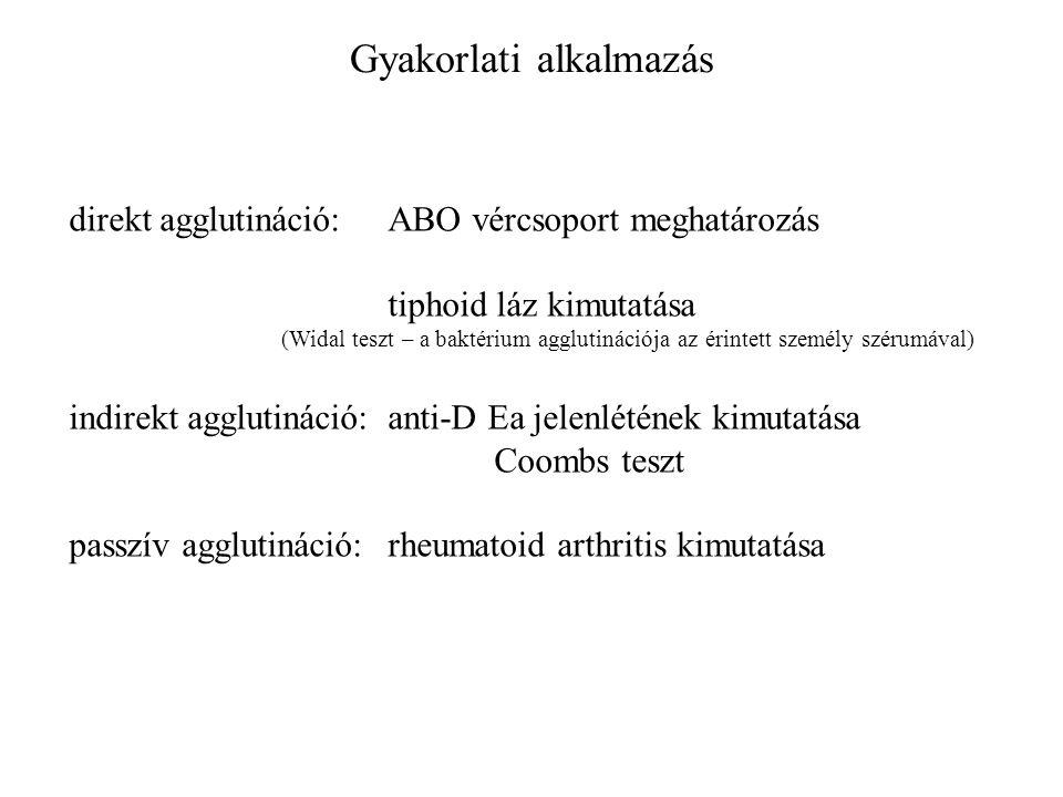 Gyakorlati alkalmazás direkt agglutináció:ABO vércsoport meghatározás tiphoid láz kimutatása (Widal teszt – a baktérium agglutinációja az érintett személy szérumával) indirekt agglutináció:anti-D Ea jelenlétének kimutatása Coombs teszt passzív agglutináció:rheumatoid arthritis kimutatása