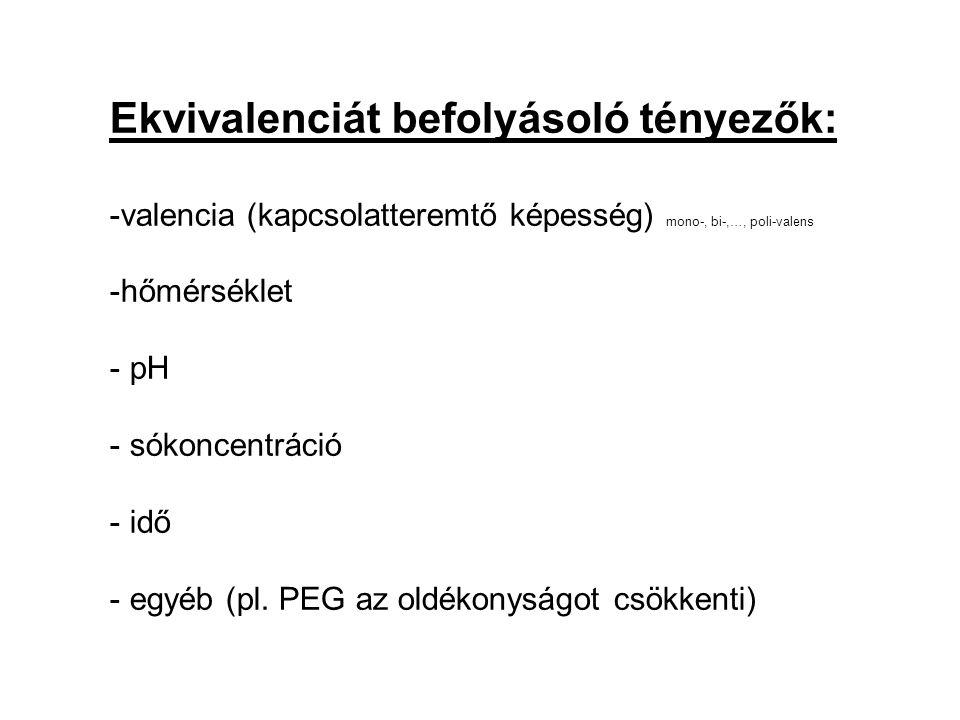 Ekvivalenciát befolyásoló tényezők: -valencia (kapcsolatteremtő képesség) mono-, bi-,…, poli-valens -hőmérséklet - pH - sókoncentráció - idő - egyéb (pl.