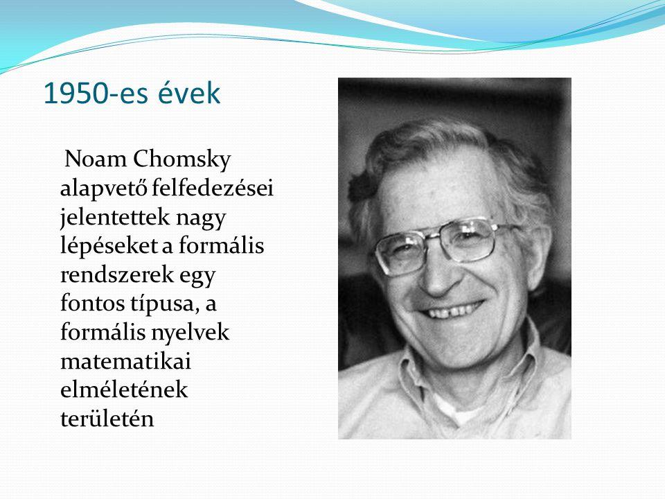 1950-es évek Noam Chomsky alapvető felfedezései jelentettek nagy lépéseket a formális rendszerek egy fontos típusa, a formális nyelvek matematikai elm