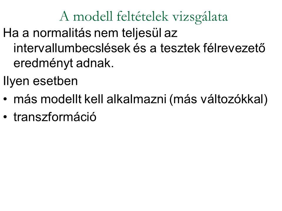 Ha a normalitás nem teljesül az intervallumbecslések és a tesztek félrevezető eredményt adnak. Ilyen esetben más modellt kell alkalmazni (más változók