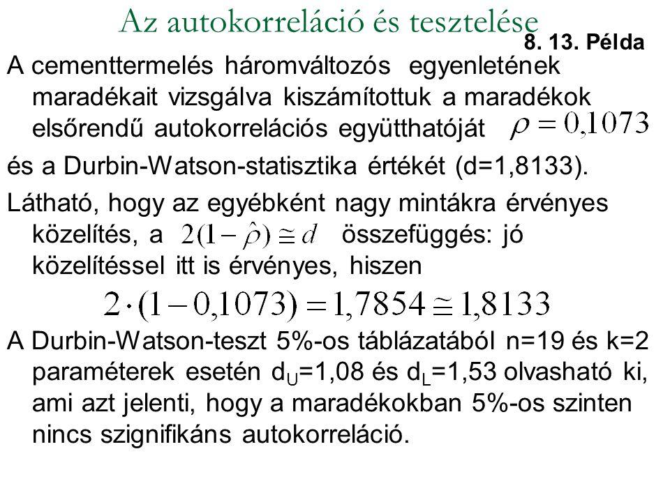 A cementtermelés háromváltozós egyenletének maradékait vizsgálva kiszámítottuk a maradékok elsőrendű autokorrelációs együtthatóját és a Durbin-Watson-