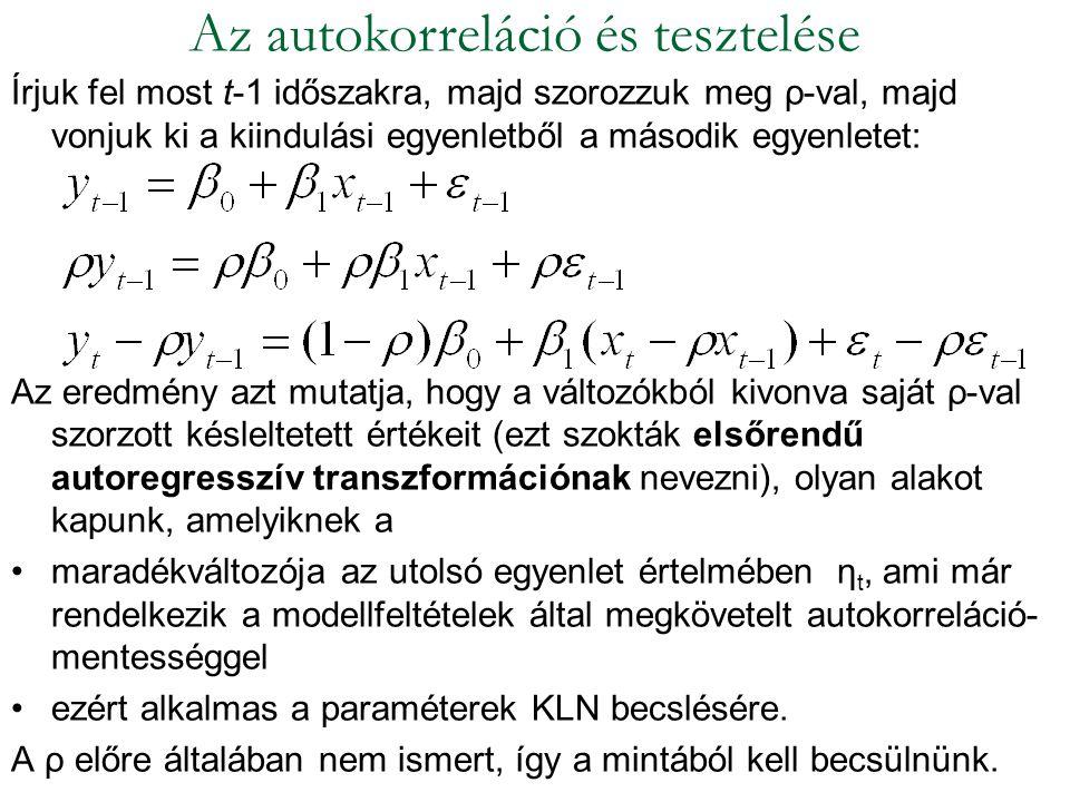Írjuk fel most t-1 időszakra, majd szorozzuk meg ρ-val, majd vonjuk ki a kiindulási egyenletből a második egyenletet: Az eredmény azt mutatja, hogy a