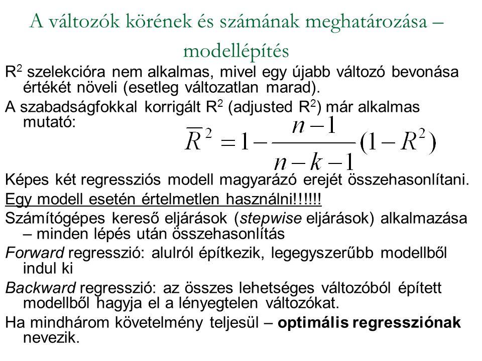 R 2 szelekcióra nem alkalmas, mivel egy újabb változó bevonása értékét növeli (esetleg változatlan marad). A szabadságfokkal korrigált R 2 (adjusted R