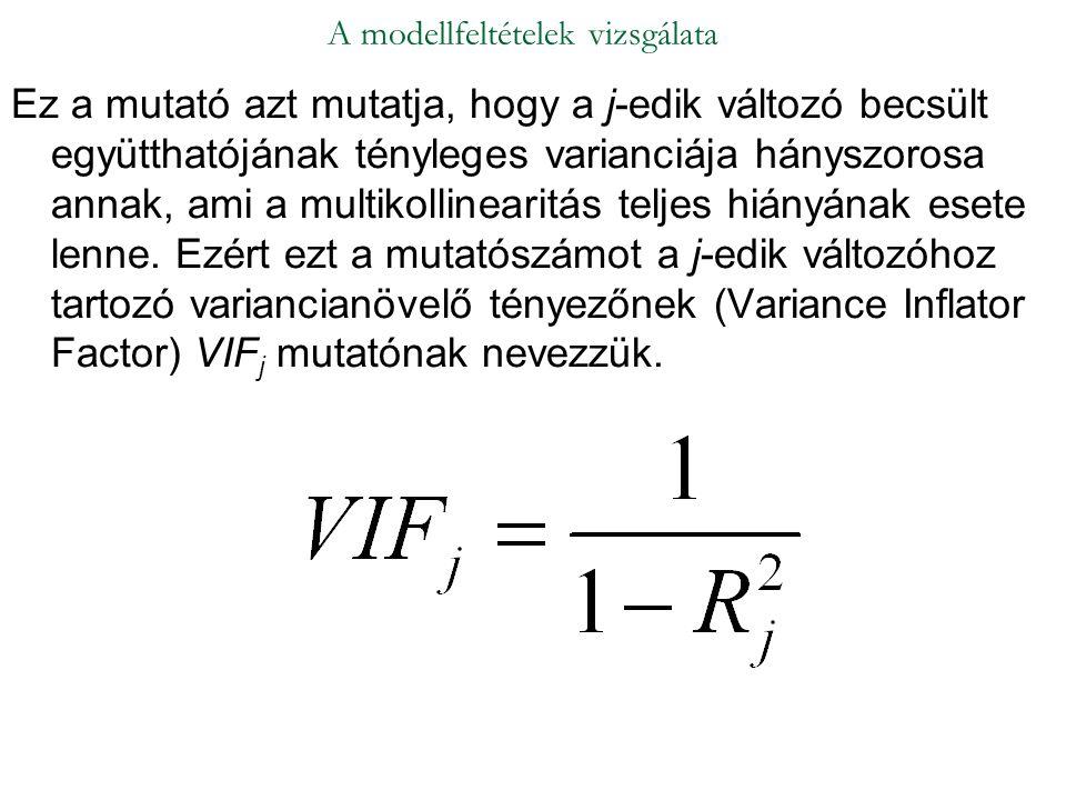 Ez a mutató azt mutatja, hogy a j-edik változó becsült együtthatójának tényleges varianciája hányszorosa annak, ami a multikollinearitás teljes hiányá