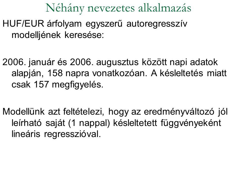 HUF/EUR árfolyam egyszerű autoregresszív modelljének keresése: 2006. január és 2006. augusztus között napi adatok alapján, 158 napra vonatkozóan. A ké