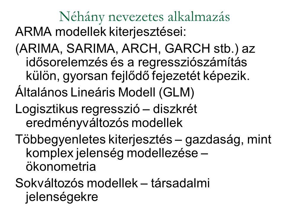 ARMA modellek kiterjesztései: (ARIMA, SARIMA, ARCH, GARCH stb.) az idősorelemzés és a regressziószámítás külön, gyorsan fejlődő fejezetét képezik. Ált