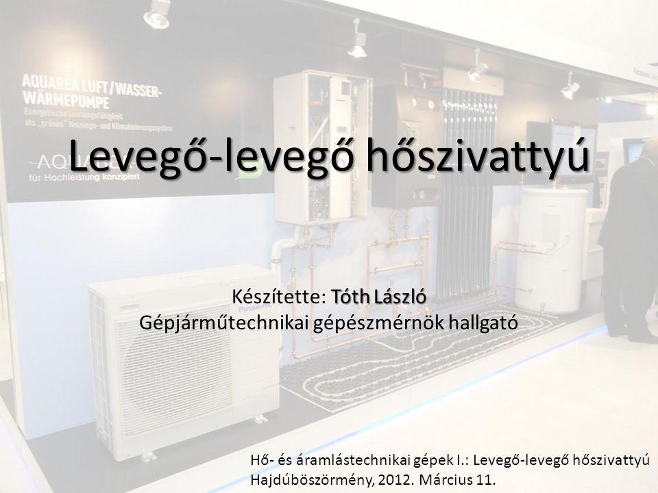 A hőszivattyúk Hő- és áramlástechnikai gépek I.: Levegő-levegő hőszivattyú Hajdúböszörmény, 2012.