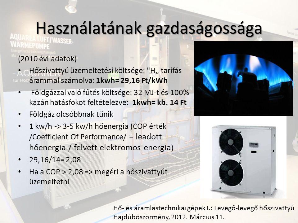 """Használatának gazdaságossága (2010 évi adatok) Hőszivattyú üzemeltetési költsége: H"""" tarifás árammal számolva: 1kwh= 29,16 Ft/kWh Földgázzal való fűtés költsége: 32 MJ-t és 100% kazán hatásfokot feltételezve: 1kwh= kb."""