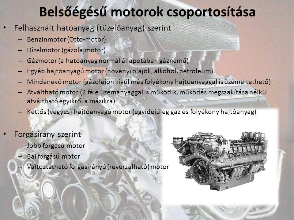 Belsőégésű motorok csoportosítása Felhasznált hatóanyag (tüzelőanyag) szerint – Benzinmotor (Otto-motor) – Dízelmotor (gázolajmotor) – Gázmotor (a hat