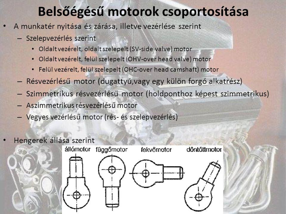 Belsőégésű motorok csoportosítása A munkatér nyitása és zárása, illetve vezérlése szerint – Szelepvezérlés szerint Oldalt vezérelt, oldalt szelepelt (