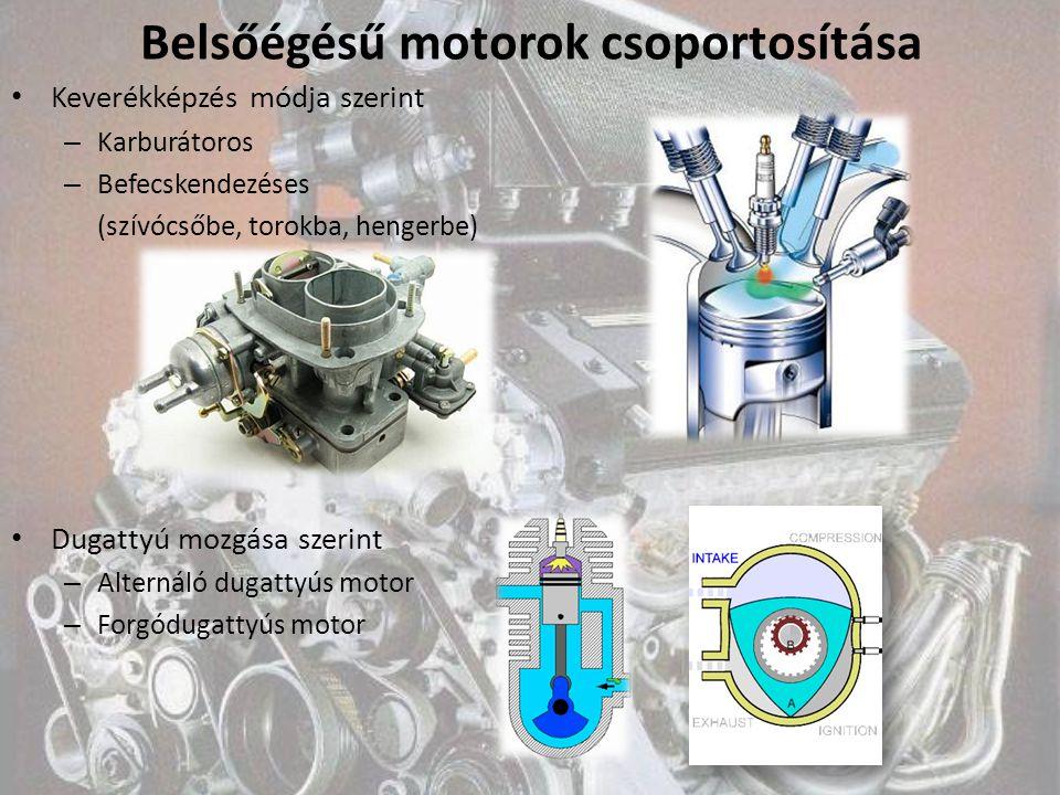 Belsőégésű motorok csoportosítása Keverékképzés módja szerint – Karburátoros – Befecskendezéses (szívócsőbe, torokba, hengerbe) Dugattyú mozgása szeri