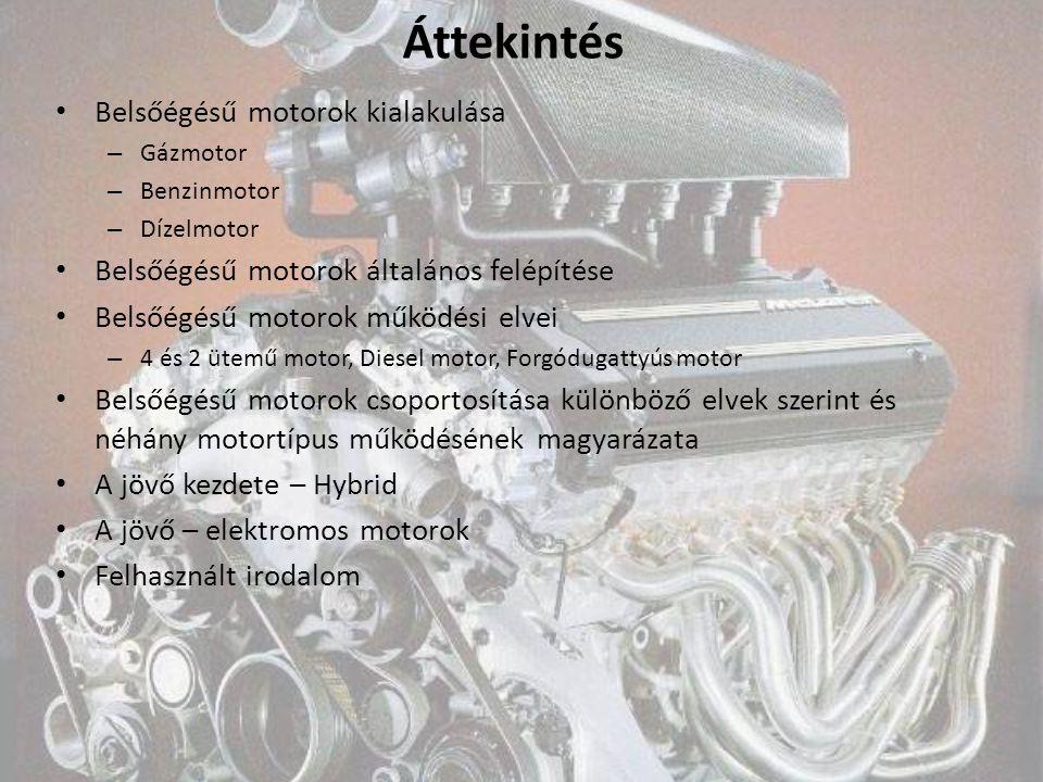 Áttekintés Belsőégésű motorok kialakulása – Gázmotor – Benzinmotor – Dízelmotor Belsőégésű motorok általános felépítése Belsőégésű motorok működési el