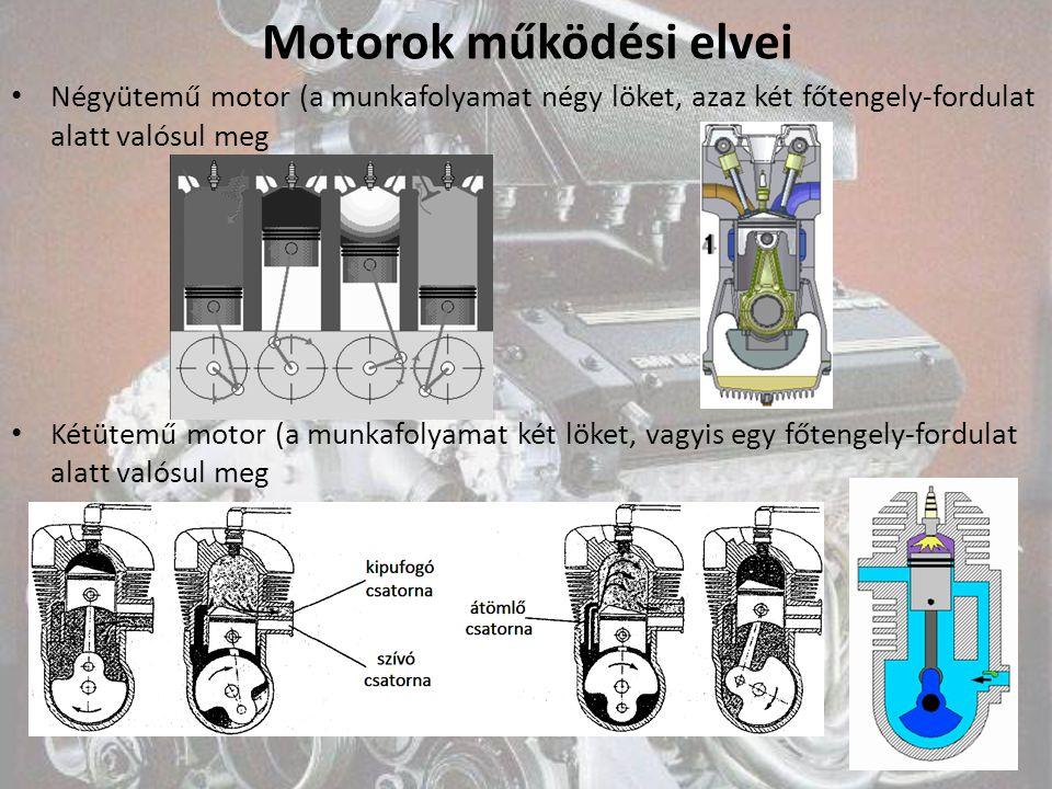 Motorok működési elvei Négyütemű motor (a munkafolyamat négy löket, azaz két főtengely-fordulat alatt valósul meg Kétütemű motor (a munkafolyamat két