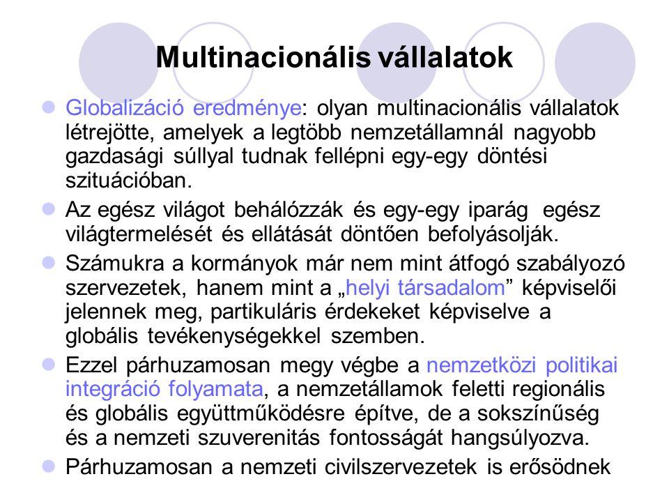 Multinacionális vállalatok Globalizáció eredménye: olyan multinacionális vállalatok létrejötte, amelyek a legtöbb nemzetállamnál nagyobb gazdasági súl