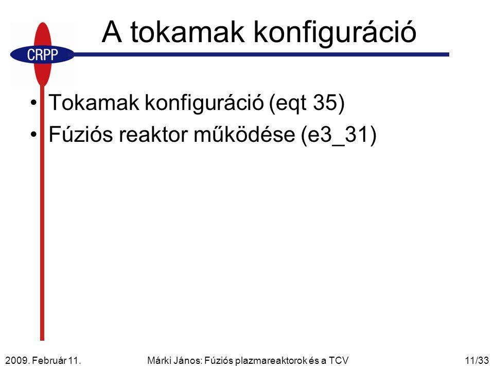 2009. Február 11. Márki János: Fúziós plazmareaktorok és a TCV11/33 A tokamak konfiguráció Tokamak konfiguráció (eqt 35) Fúziós reaktor működése (e3_3