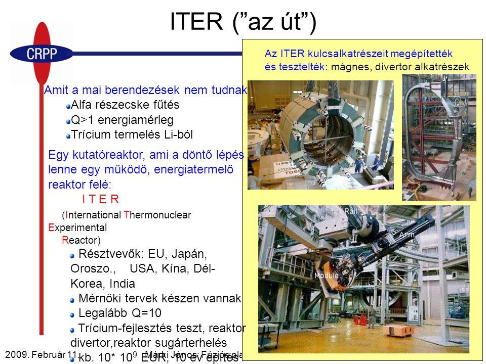 2009. Február 11. Márki János: Fúziós plazmareaktorok és a TCV14/33 Amit a mai berendezések nem tudnak: Alfa részecske fűtés Q>1 energiamérleg Trícium