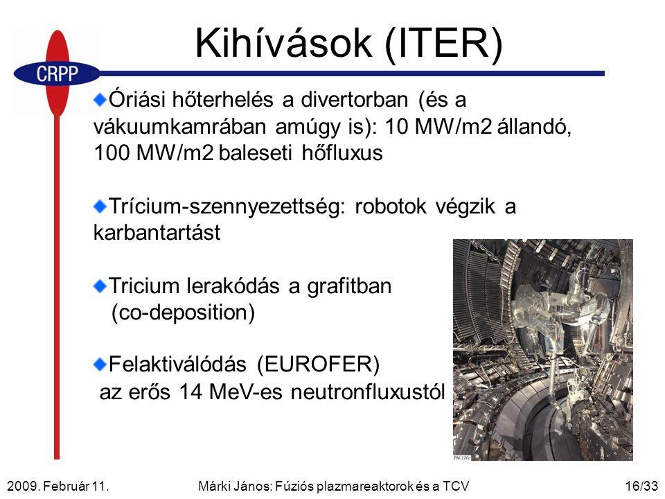 2009. Február 11. Márki János: Fúziós plazmareaktorok és a TCV16/33 Kihívások (ITER) Óriási hőterhelés a divertorban (és a vákuumkamrában amúgy is): 1