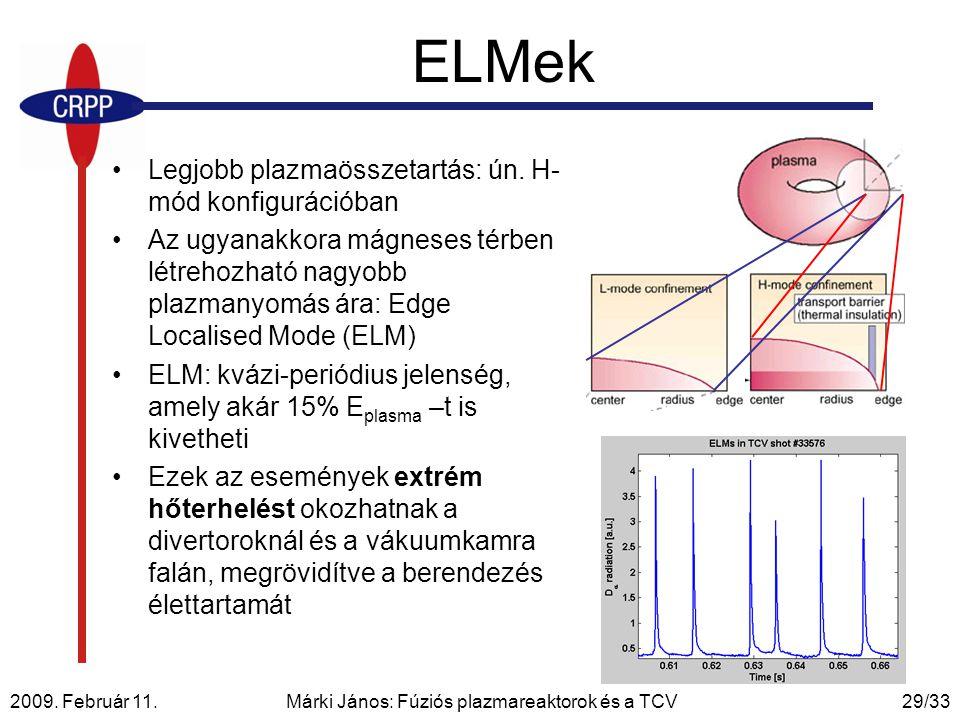 2009. Február 11. Márki János: Fúziós plazmareaktorok és a TCV29/33 ELMek Legjobb plazmaösszetartás: ún. H- mód konfigurációban Az ugyanakkora mágnese