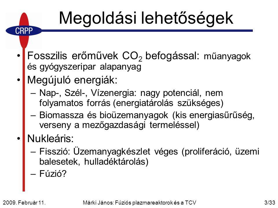2009. Február 11. Márki János: Fúziós plazmareaktorok és a TCV3/33 Megoldási lehetőségek Fosszilis erőművek CO 2 befogással: műanyagok és gyógyszeripa