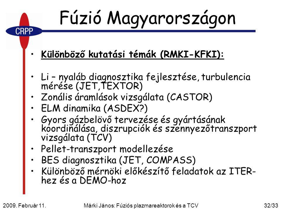 2009. Február 11. Márki János: Fúziós plazmareaktorok és a TCV32/33 Fúzió Magyarországon Különböző kutatási témák (RMKI-KFKI): Li – nyaláb diagnosztik